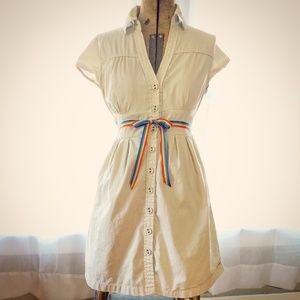 Versatile Khaki Pinup Vintage Style Shirt Dress